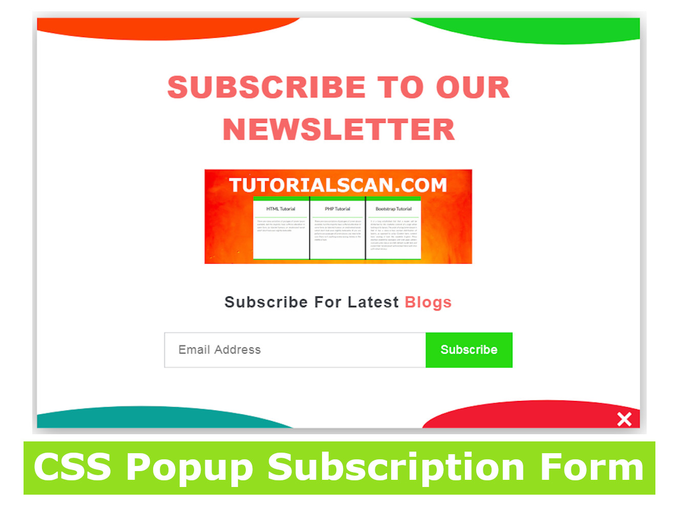 CSS Popup Subscription Form