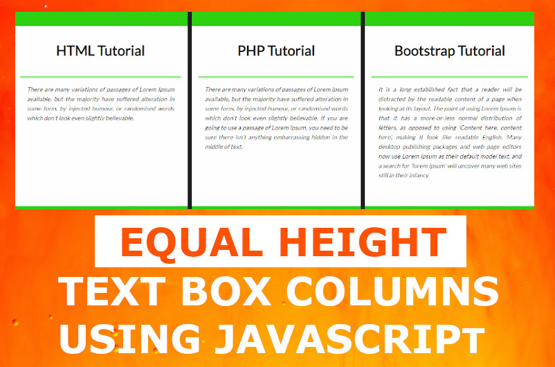 Equal Height Columns Flexbox